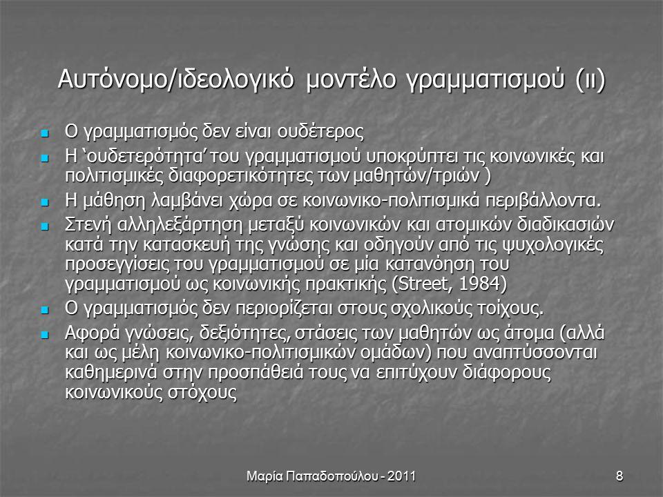 Μαρία Παπαδοπούλου - 201119 Ιδεολογία & Λόγοι Κείμενο & πλαίσιο Πεδίο Συνομιλιακοί ρόλοι Τρόπος/οι Πώς δηλώνεται η αντίπαλη ομάδα σε κάθε κείμενο; Αναφέρεται κάπου το όνομά της; Από πού αντλείτε την πληροφορία για τις ομάδες που θα συμμετέχουν στον αγώνα; Ποια η συμβολή του χρώματος; Ποια η συμβολή της εικόνας; Για ποιο λόγο γίνονται αυτές οι επιλογές; Ποια στάση υιοθετούν οι δημιουργοί των πρωτοσέλιδων για τον 'αντίπαλο'; Πώς θα χαρακτηρίζατε τις εφημερίδες: οπαδικές, ουδέτερες; Σε τι στοιχεία βασίζετε την άποψή σας.