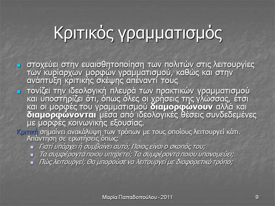 Μαρία Παπαδοπούλου - 20119 Κριτικός γραμματισμός στοχεύει στην ευαισθητοποίηση των πολιτών στις λειτουργίες των κυρίαρχων μορφών γραμματισμού, καθώς και στην ανάπτυξη κριτικής σκέψης απέναντί τους στοχεύει στην ευαισθητοποίηση των πολιτών στις λειτουργίες των κυρίαρχων μορφών γραμματισμού, καθώς και στην ανάπτυξη κριτικής σκέψης απέναντί τους τονίζει την ιδεολογική πλευρά των πρακτικών γραμματισμού και υποστηρίζει ότι, όπως όλες οι χρήσεις της γλώσσας, έτσι και οι μορφές του γραμματισμού διαμορφώνουν αλλά και διαμορφώνονται μέσα από ιδεολογικές θέσεις συνδεδεμένες με μορφές κοινωνικής εξουσίας.