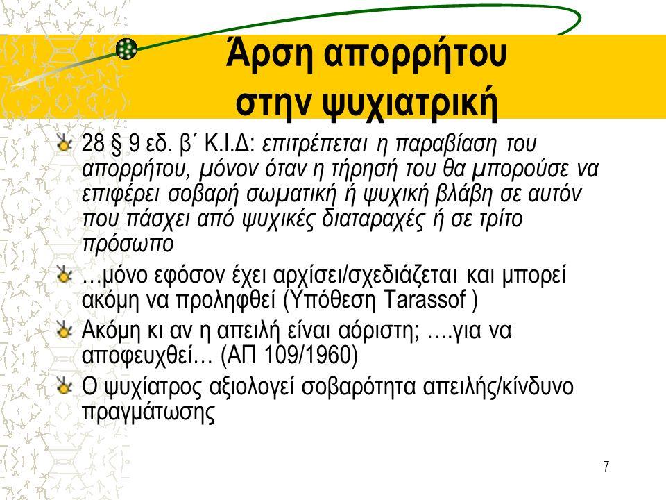 7 Άρση απορρήτου στην ψυχιατρική 28 § 9 εδ.