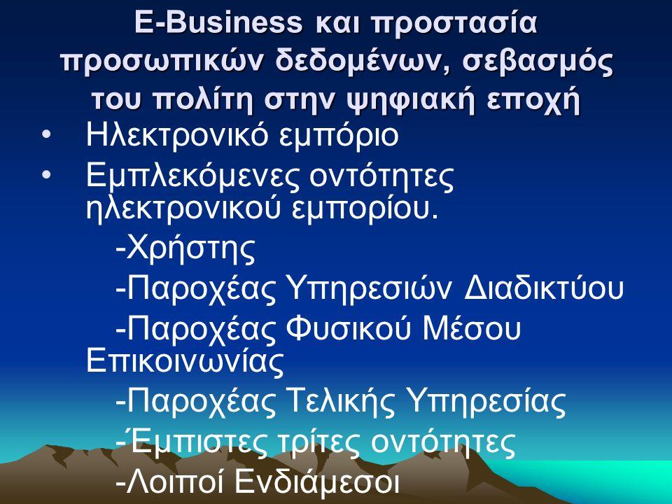 E-Business και προστασία προσωπικών δεδομένων, σεβασμός του πολίτη στην ψηφιακή εποχή Ηλεκτρονικό εμπόριο Εμπλεκόμενες οντότητες ηλεκτρονικού εμπορίου.