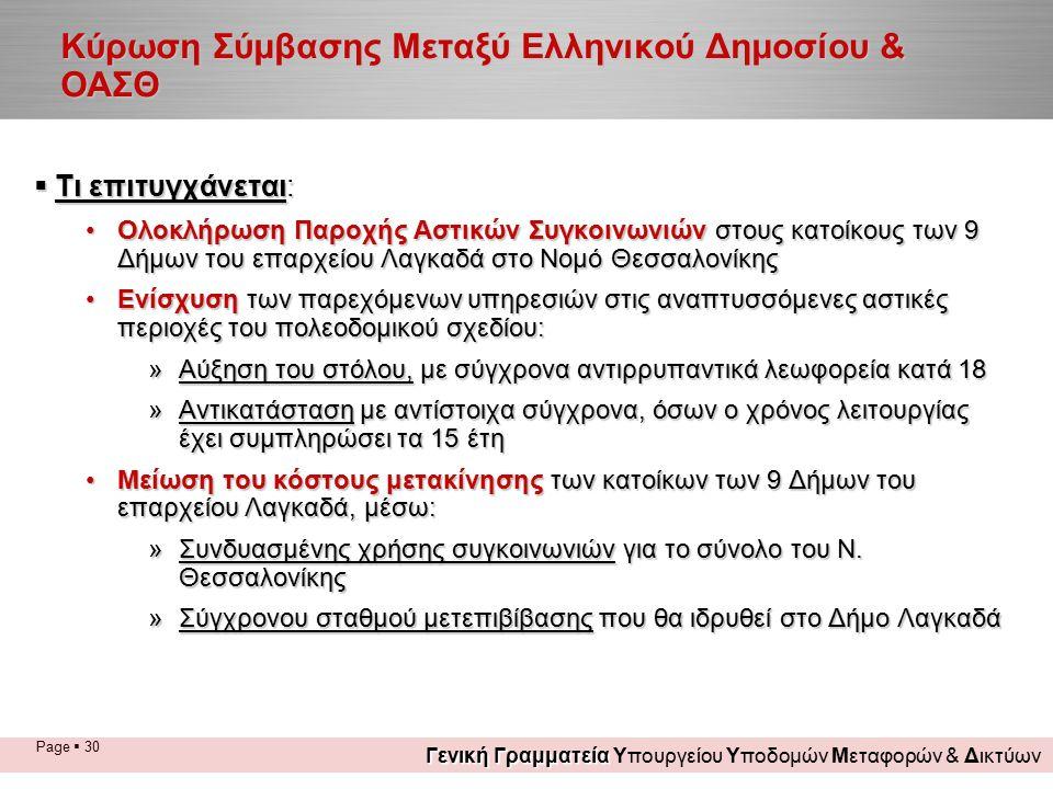 Page  30 Κύρωση Σύμβασης Μεταξύ Ελληνικού Δημοσίου & ΟΑΣΘ  Τι επιτυγχάνεται: Ολοκλήρωση Παροχής Αστικών Συγκοινωνιών στους κατοίκους των 9 Δήμων του