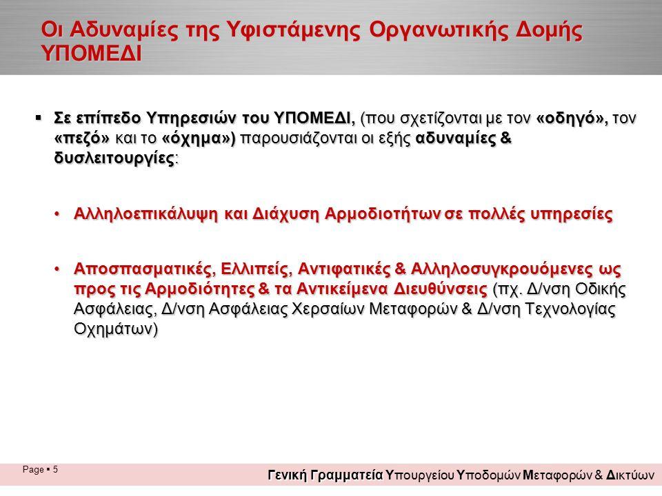 Page  5 Οι Αδυναμίες της Υφιστάμενης Οργανωτικής Δομής ΥΠΟΜΕΔΙ  Σε επίπεδο Υπηρεσιών του ΥΠΟΜΕΔΙ, (που σχετίζονται με τον «οδηγό», τον «πεζό» και το «όχημα») παρουσιάζονται οι εξής αδυναμίες & δυσλειτουργίες: Αλληλοεπικάλυψη και Διάχυση Αρμοδιοτήτων σε πολλές υπηρεσίεςΑλληλοεπικάλυψη και Διάχυση Αρμοδιοτήτων σε πολλές υπηρεσίες Αποσπασματικές, Ελλιπείς, Αντιφατικές & Αλληλοσυγκρουόμενες ως προς τις Αρμοδιότητες & τα Αντικείμενα Διευθύνσεις (πχ.