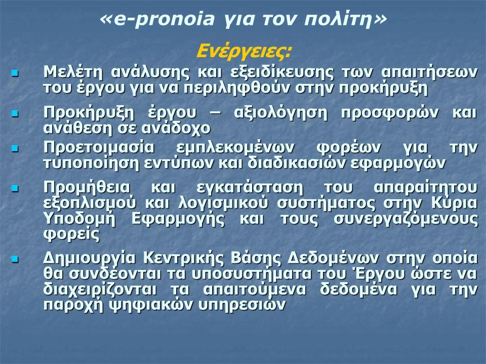 «e-pronoia για τον πολίτη» Μελέτη ανάλυσης και εξειδίκευσης των απαιτήσεων του έργου για να περιληφθούν στην προκήρυξη Μελέτη ανάλυσης και εξειδίκευση