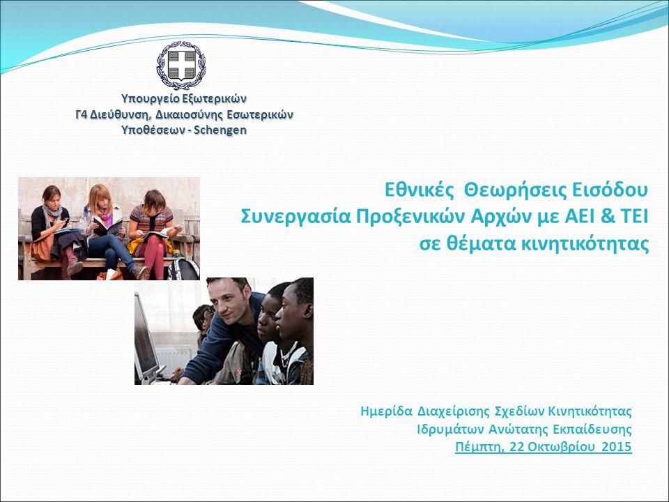 Υπουργείο Εξωτερικών Γ4 Διεύθυνση, Δικαιοσύνης Εσωτερικών Υποθέσεων - Schengen Ημερίδα Διαχείρισης Σχεδίων Κινητικότητας Ιδρυμάτων Ανώτατης Εκπαίδευσης Πέμπτη, 22 Οκτωβρίου 2015 Εθνικές Θεωρήσεις Εισόδου Συνεργασία Προξενικών Αρχών με ΑΕΙ & ΤΕΙ σε θέματα κινητικότητας