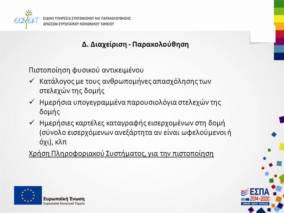 Δ. Διαχείριση - Παρακολούθηση Πιστοποίηση φυσικού αντικειμένου Κατάλογος με τους ανθρωπομήνες απασχόλησης των στελεχών της δομής Ημερήσια υπογεγραμμέν