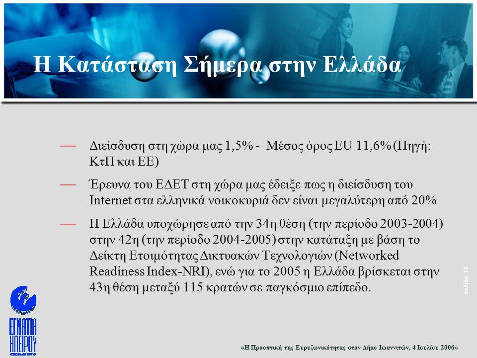 «Η Προοπτική της Ευρυζωνικότητας στον Δήμο Ιωαννιτών, 4 Ιουλίου 2006» σελίδα 13 — Διείσδυση στη χώρα μας 1,5% - Μέσος όρος EU 11,6% (Πηγή: ΚτΠ και ΕΕ) — Έρευνα του ΕΔΕΤ στη χώρα μας έδειξε πως η διείσδυση του Internet στα ελληνικά νοικοκυριά δεν είναι μεγαλύτερη από 20% — Η Ελλάδα υποχώρησε από την 34η θέση (την περίοδο 2003-2004) στην 42η (την περίοδο 2004-2005) στην κατάταξη με βάση το Δείκτη Ετοιμότητας Δικτυακών Τεχνολογιών (Networked Readiness Index-NRI), ενώ για το 2005 η Ελλάδα βρίσκεται στην 43η θέση μεταξύ 115 κρατών σε παγκόσμιο επίπεδο.