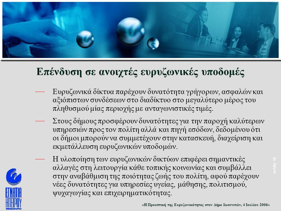 «Η Προοπτική της Ευρυζωνικότητας στον Δήμο Ιωαννιτών, 4 Ιουλίου 2006» σελίδα 16 Επένδυση σε ανοιχτές ευρυζωνικές υποδομές — Ευρυζωνικά δίκτυα παρέχουν δυνατότητα γρήγορων, ασφαλών και αξιόπιστων συνδέσεων στο διαδίκτυο στο μεγαλύτερο μέρος του πληθυσμού μίας περιοχής με ανταγωνιστικές τιμές.
