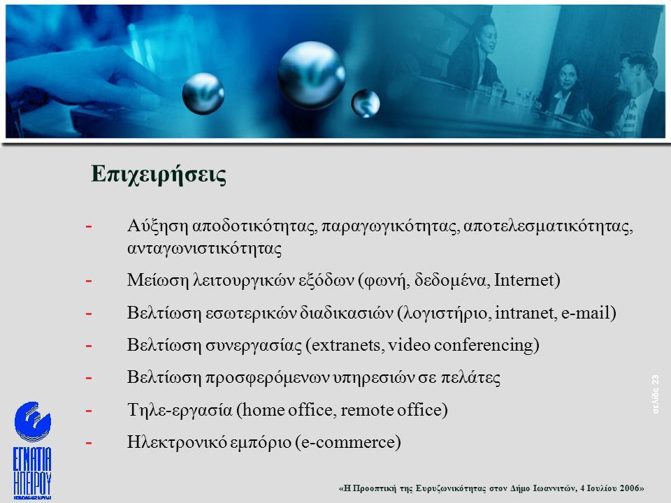 «Η Προοπτική της Ευρυζωνικότητας στον Δήμο Ιωαννιτών, 4 Ιουλίου 2006» σελίδα 23 Επιχειρήσεις - Αύξηση αποδοτικότητας, παραγωγικότητας, αποτελεσματικότητας, ανταγωνιστικότητας - Μείωση λειτουργικών εξόδων (φωνή, δεδομένα, Internet) - Βελτίωση εσωτερικών διαδικασιών (λογιστήριο, intranet, e-mail) - Βελτίωση συνεργασίας (extranets, video conferencing) - Βελτίωση προσφερόμενων υπηρεσιών σε πελάτες - Τηλε-εργασία (home office, remote office) - Ηλεκτρονικό εμπόριο (e-commerce)