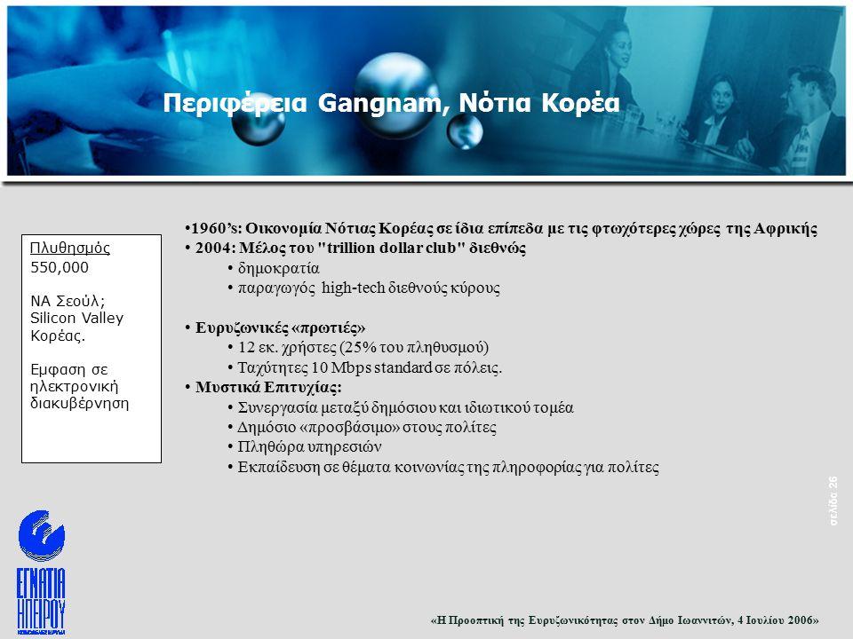 «Η Προοπτική της Ευρυζωνικότητας στον Δήμο Ιωαννιτών, 4 Ιουλίου 2006» σελίδα 26 Πλυθησμός 550,000 ΝΑ Σεούλ; Silicon Valley Κορέας.