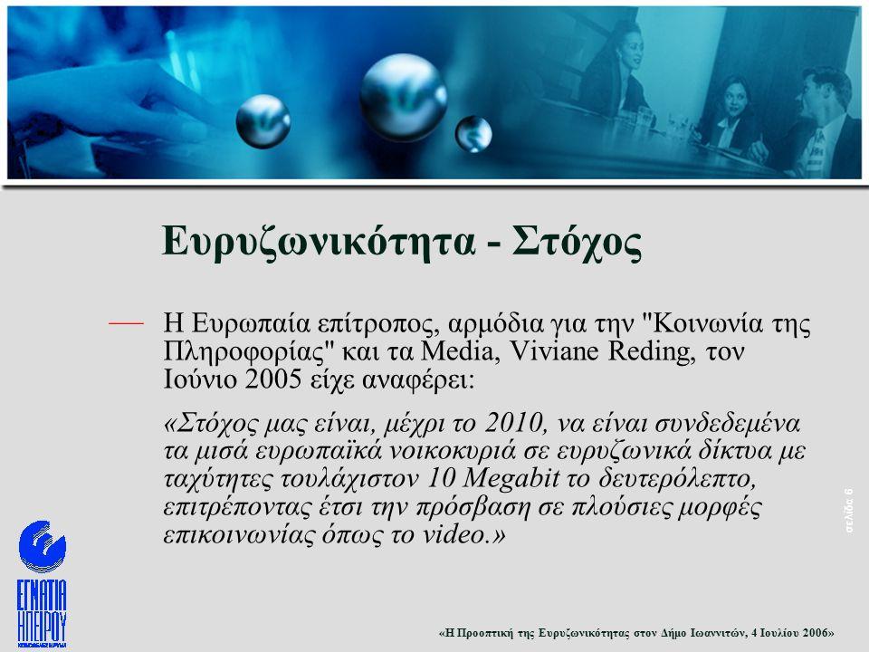 «Η Προοπτική της Ευρυζωνικότητας στον Δήμο Ιωαννιτών, 4 Ιουλίου 2006» σελίδα 6 Ευρυζωνικότητα - Στόχος — Η Ευρωπαία επίτροπος, αρμόδια για την Κοινωνία της Πληροφορίας και τα Media, Viviane Reding, τον Ιούνιο 2005 είχε αναφέρει: «Στόχος μας είναι, μέχρι το 2010, να είναι συνδεδεμένα τα μισά ευρωπαϊκά νοικοκυριά σε ευρυζωνικά δίκτυα με ταχύτητες τουλάχιστον 10 Megabit το δευτερόλεπτο, επιτρέποντας έτσι την πρόσβαση σε πλούσιες μορφές επικοινωνίας όπως το video.»