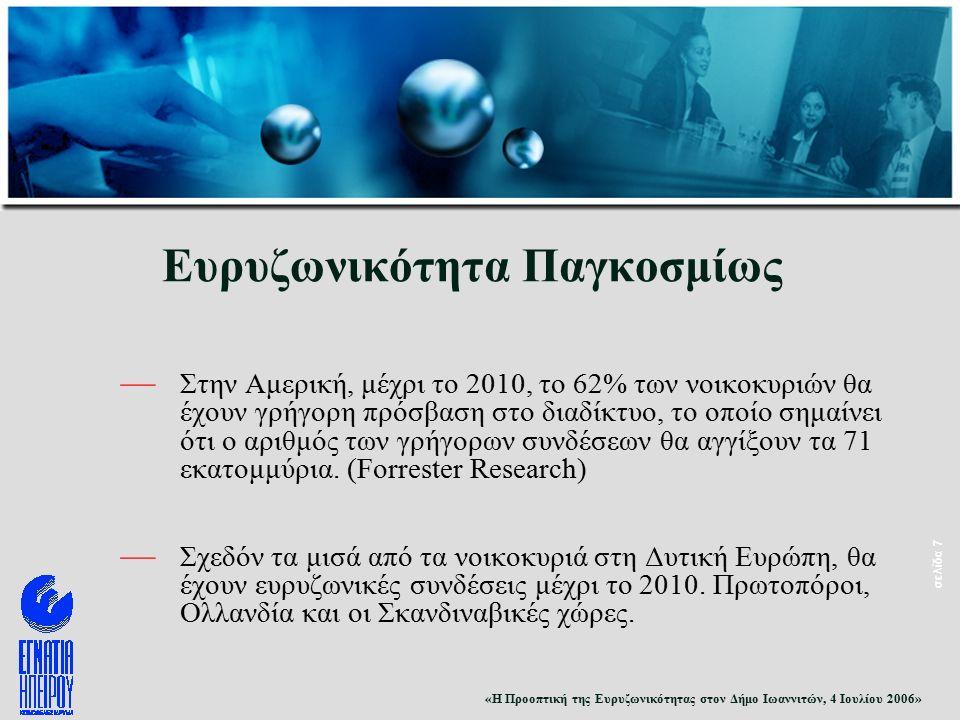 «Η Προοπτική της Ευρυζωνικότητας στον Δήμο Ιωαννιτών, 4 Ιουλίου 2006» σελίδα 7 Ευρυζωνικότητα Παγκοσμίως — Στην Αμερική, μέχρι το 2010, το 62% των νοικοκυριών θα έχουν γρήγορη πρόσβαση στο διαδίκτυο, το οποίο σημαίνει ότι ο αριθμός των γρήγορων συνδέσεων θα αγγίξουν τα 71 εκατομμύρια.