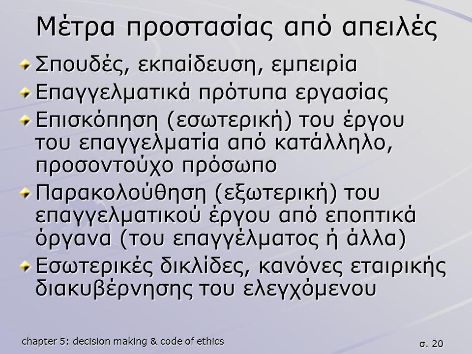 chapter 5: decision making & code of ethics σ. 20 Μέτρα προστασίας από απειλές Σπουδές, εκπαίδευση, εμπειρία Επαγγελματικά πρότυπα εργασίας Επισκόπηση