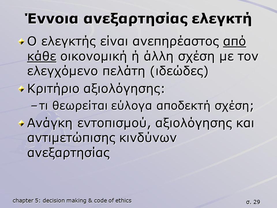 chapter 5: decision making & code of ethics σ. 29 Έννοια ανεξαρτησίας ελεγκτή Ο ελεγκτής είναι ανεπηρέαστος από κάθε οικονομική ή άλλη σχέση με τον ελ