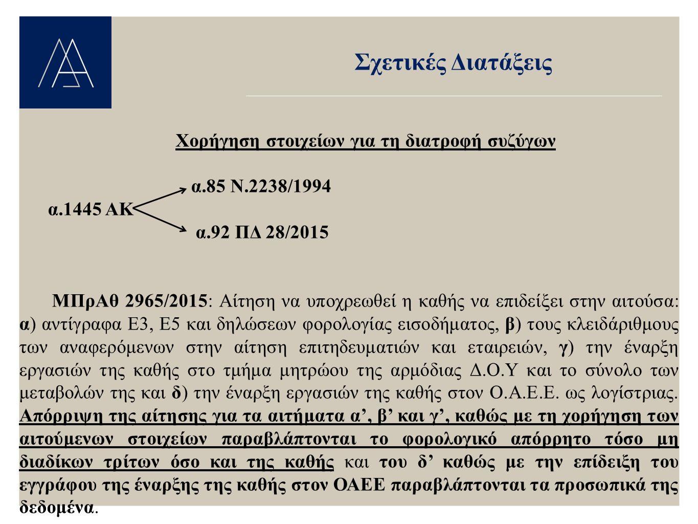 Σχετικές Διατάξεις Χορήγηση στοιχείων για τη διατροφή συζύγων α.85 Ν.2238/1994 α.1445 ΑΚ α.92 ΠΔ 28/2015 ΜΠρΑθ 2965/2015: Αίτηση να υποχρεωθεί η καθής