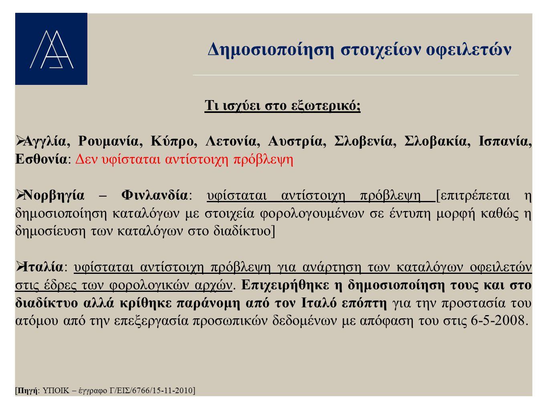 Δημοσιοποίηση στοιχείων οφειλετών Τι ισχύει στο εξωτερικό;  Αγγλία, Ρουμανία, Κύπρο, Λετονία, Αυστρία, Σλοβενία, Σλοβακία, Ισπανία, Εσθονία: Δεν υφίσ