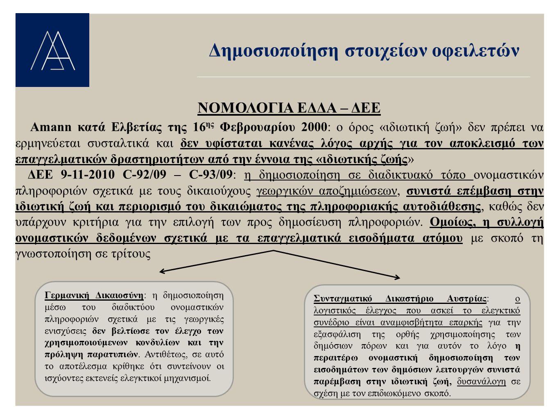 Δημοσιοποίηση στοιχείων οφειλετών ΝΟΜΟΛΟΓΙΑ ΕΔΔΑ – ΔΕΕ Amann κατά Ελβετίας της 16 ης Φεβρουαρίου 2000: ο όρος «ιδιωτική ζωή» δεν πρέπει να ερμηνεύεται