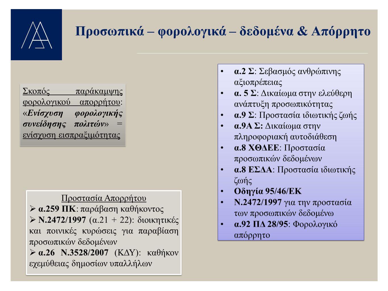 Προσωπικά – φορολογικά – δεδομένα & Απόρρητο Σκοπός παράκαμψης φορολογικού απορρήτου: «Ενίσχυση φορολογικής συνείδησης πολιτών» = ενίσχυση εισπραξιμότ