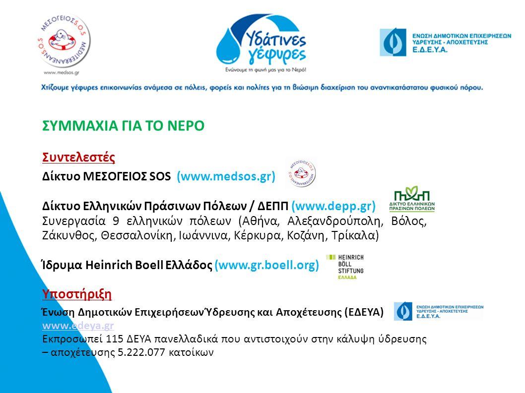 ΣΥΜΜΑΧΙΑ ΓΙΑ ΤΟ ΝΕΡΟ Συντελεστές Δίκτυο ΜΕΣΟΓΕΙΟΣ SOS (www.medsos.gr) Δίκτυο Ελληνικών Πράσινων Πόλεων / ΔΕΠΠ (www.depp.gr) Συνεργασία 9 ελληνικών πόλεων (Αθήνα, Αλεξανδρούπολη, Βόλος, Ζάκυνθος, Θεσσαλονίκη, Ιωάννινα, Κέρκυρα, Κοζάνη, Τρίκαλα) Ίδρυμα Heinrich Boell Ελλάδος (www.gr.boell.org) Υποστήριξη Ένωση Δημοτικών Επιχειρήσεων Ύδρευσης και Αποχέτευσης (ΕΔΕΥΑ) www.edeya.gr www.edeya.gr Εκπροσωπεί 115 ΔΕΥΑ πανελλαδικά που αντιστοιχούν στην κάλυψη ύδρευσης – αποχέτευσης 5.222.077 κατοίκων