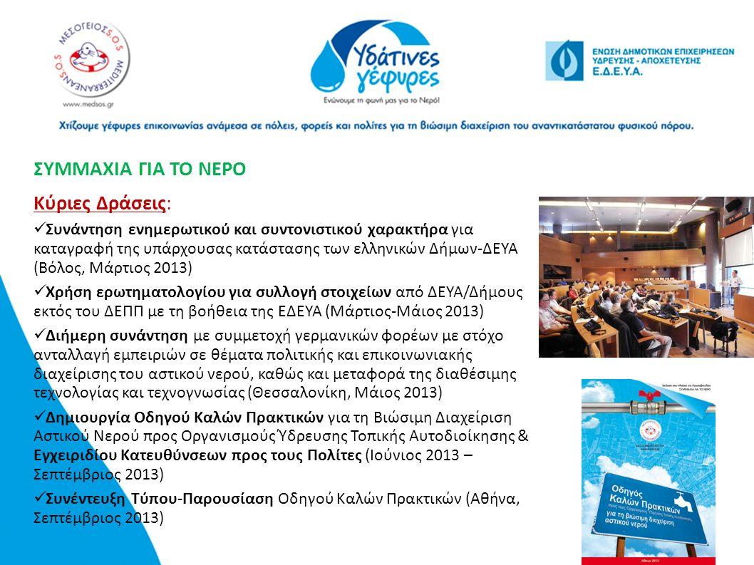 ΣΥΜΜΑΧΙΑ ΓΙΑ ΤΟ ΝΕΡΟ Κύριες Δράσεις: Συνάντηση ενημερωτικού και συντονιστικού χαρακτήρα για καταγραφή της υπάρχουσας κατάστασης των ελληνικών Δήμων-ΔΕ
