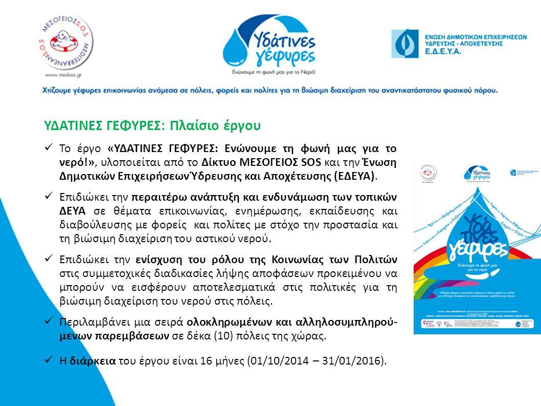 ΥΔΑΤΙΝΕΣ ΓΕΦΥΡΕΣ: Πλαίσιο έργου Το έργο «ΥΔΑΤΙΝΕΣ ΓΕΦΥΡΕΣ: Ενώνουμε τη φωνή μας για το νερό!», υλοποιείται από το Δίκτυο ΜΕΣΟΓΕΙΟΣ SOS και την Ένωση Δ