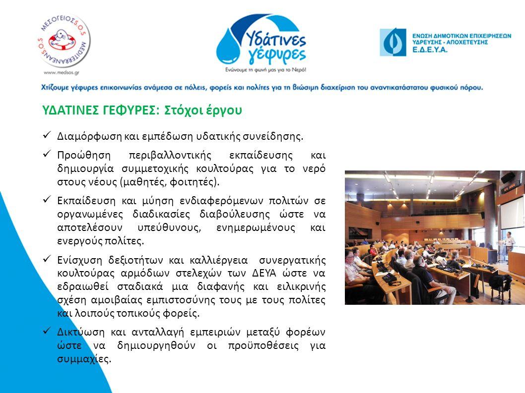 ΥΔΑΤΙΝΕΣ ΓΕΦΥΡΕΣ: Στόχοι έργου Διαμόρφωση και εμπέδωση υδατικής συνείδησης. Προώθηση περιβαλλοντικής εκπαίδευσης και δημιουργία συμμετοχικής κουλτούρα