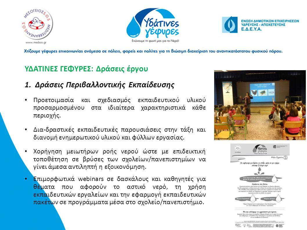 Χορήγηση μειωτήρων ροής νερού ώστε με επιδεικτική τοποθέτηση σε βρύσες των σχολείων/πανεπιστημίων να γίνει άμεσα αντιληπτή η εξοικονόμηση. Επιμορφωτικ