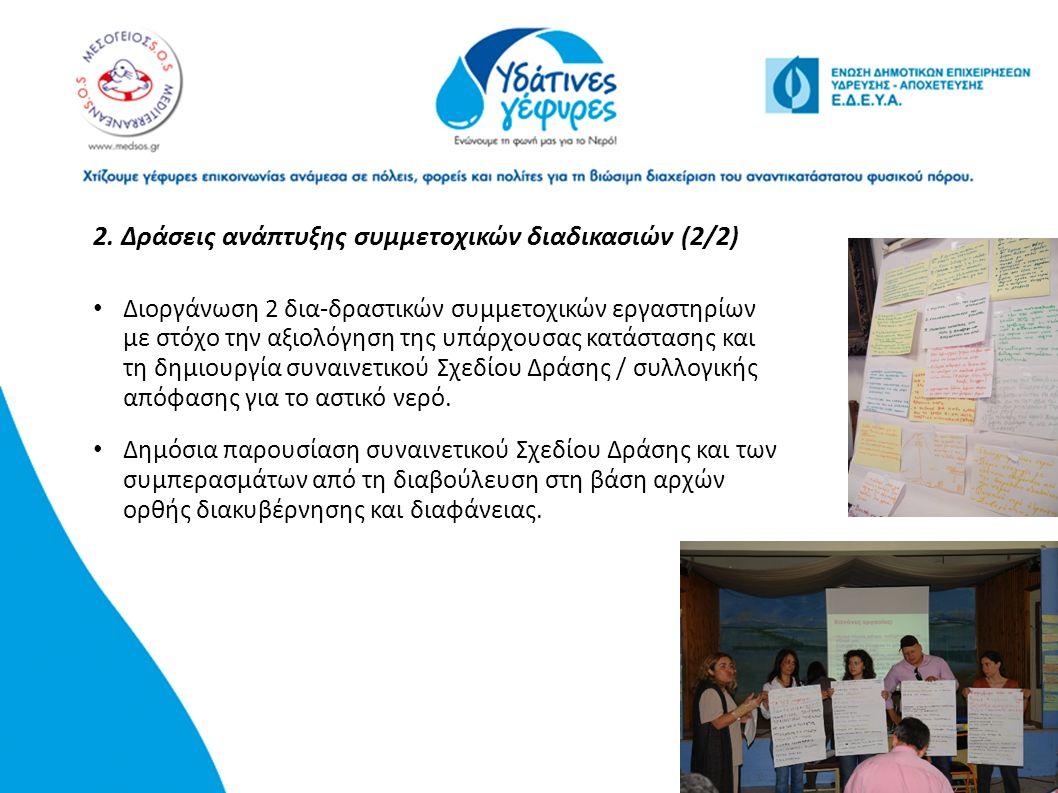 2. Δράσεις ανάπτυξης συμμετοχικών διαδικασιών (2/2) Διοργάνωση 2 δια-δραστικών συμμετοχικών εργαστηρίων με στόχο την αξιολόγηση της υπάρχουσας κατάστα