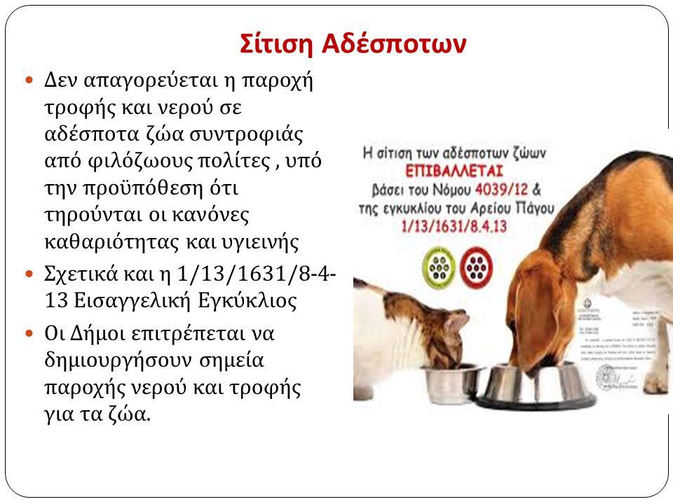 Σίτιση Αδέσποτων Δεν απαγορεύεται η παροχή τροφής και νερού σε αδέσποτα ζώα συντροφιάς από φιλόζωους πολίτες, υπό την προϋπόθεση ότι τηρούνται οι κανόνες καθαριότητας και υγιεινής Σχετικά και η 1/13/1631/8-4- 13 Εισαγγελική Εγκύκλιος Οι Δήμοι επιτρέπεται να δημιουργήσουν σημεία παροχής νερού και τροφής για τα ζώα.