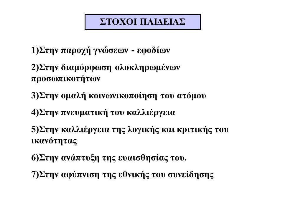 ΣΤΟΧΟΙ ΠΑΙΔΕΙΑΣ 1)Στην παροχή γνώσεων - εφοδίων 2)Στην διαμόρφωση ολοκληρωμένων προσωπικοτήτων 3)Στην ομαλή κοινωνικοποίηση του ατόμου 4)Στην πνευματική του καλλιέργεια 5)Στην καλλιέργεια της λογικής και κριτικής του ικανότητας 6)Στην ανάπτυξη της ευαισθησίας του.