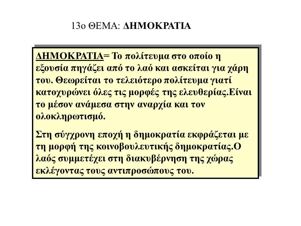 13ο ΘΕΜΑ: ΔΗΜΟΚΡΑΤΙΑ ΔΗΜΟΚΡΑΤΙΑ= Το πολίτευμα στο οποίο η εξουσία πηγάζει από το λαό και ασκείται για χάρη του.