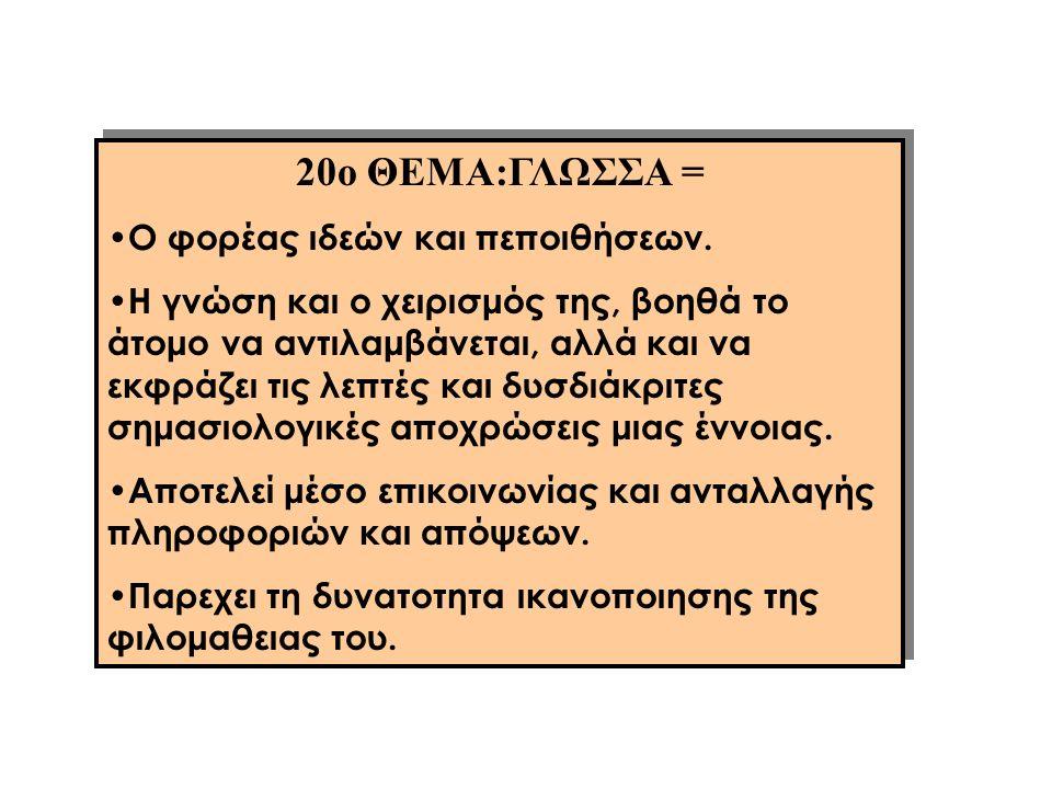 20ο ΘΕΜΑ:ΓΛΩΣΣΑ = Ο φορέας ιδεών και πεποιθήσεων.