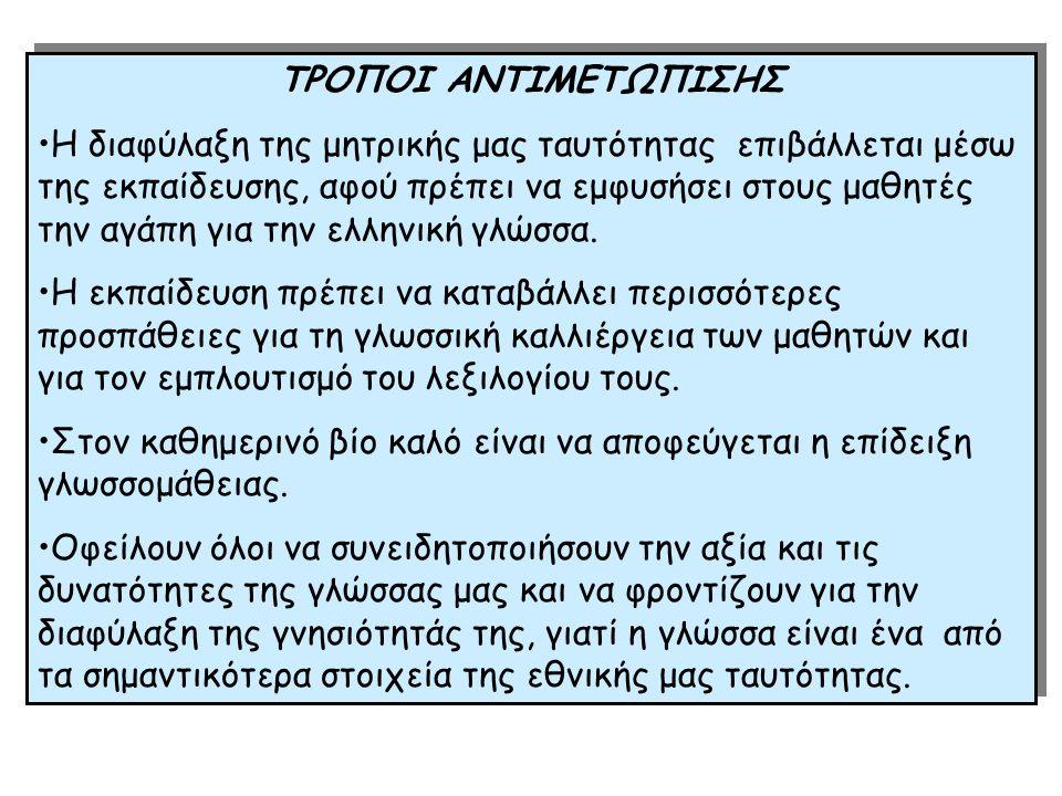 ΤΡΟΠΟΙ ΑΝΤΙΜΕΤΩΠΙΣΗΣ Η διαφύλαξη της μητρικής μας ταυτότητας επιβάλλεται μέσω της εκπαίδευσης, αφού πρέπει να εμφυσήσει στους μαθητές την αγάπη για την ελληνική γλώσσα.