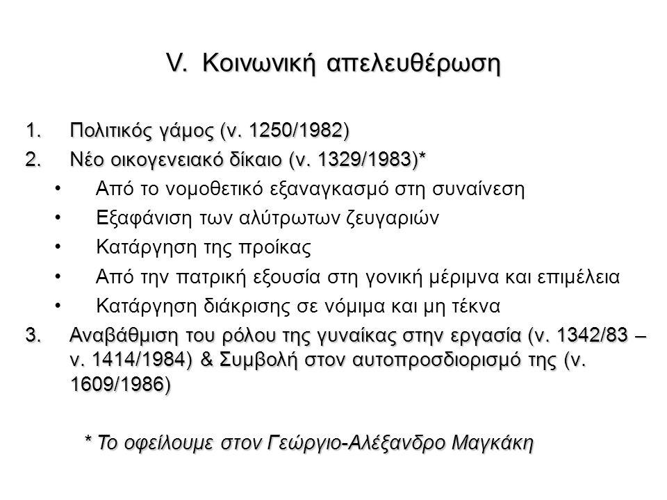 V. Κοινωνική απελευθέρωση 1.Πολιτικός γάμος (ν. 1250/1982) 2.Νέο οικογενειακό δίκαιο (ν. 1329/1983)* Από το νομοθετικό εξαναγκασμό στη συναίνεση Εξαφά