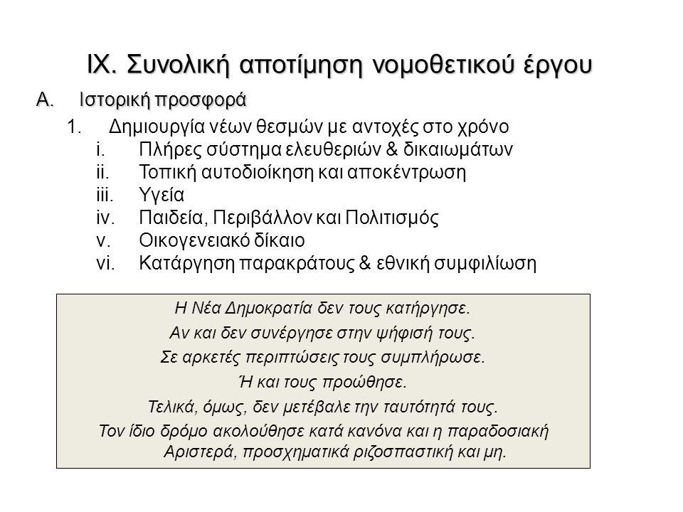 IX. Συνολική αποτίμηση νομοθετικού έργου A.Ιστορική προσφορά 1.Δημιουργία νέων θεσμών με αντοχές στο χρόνο i.Πλήρες σύστημα ελευθεριών & δικαιωμάτων i