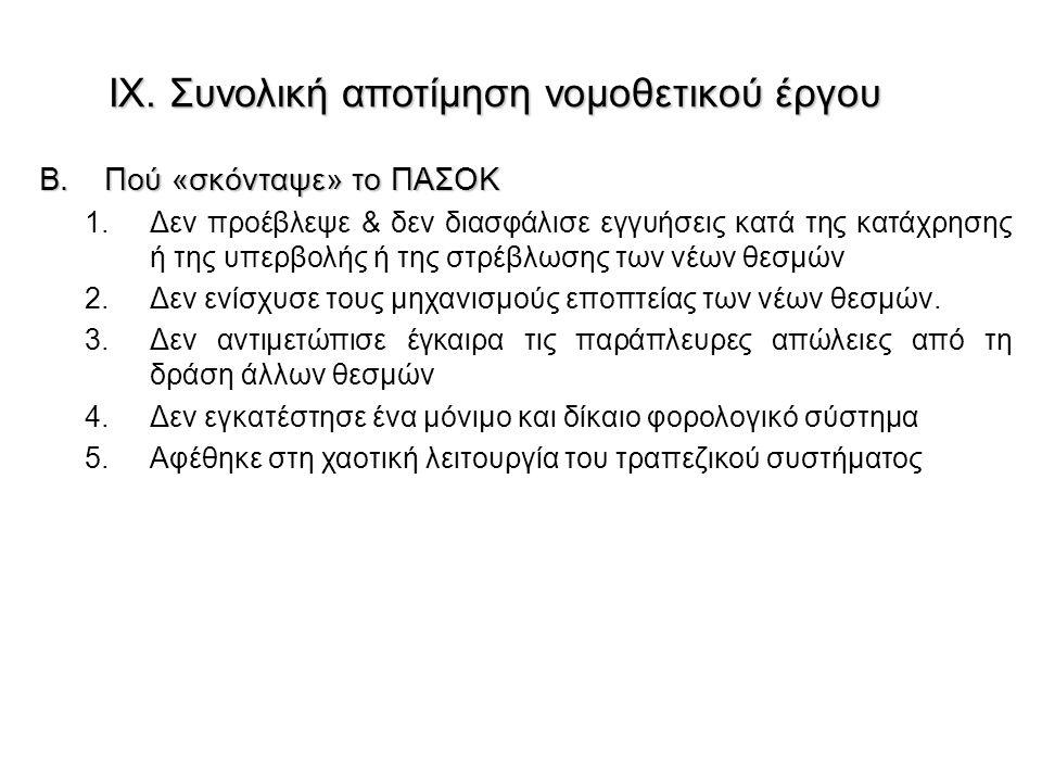 B.Πού «σκόνταψε» το ΠΑΣΟΚ 1.Δεν προέβλεψε & δεν διασφάλισε εγγυήσεις κατά της κατάχρησης ή της υπερβολής ή της στρέβλωσης των νέων θεσμών 2.Δεν ενίσχυ