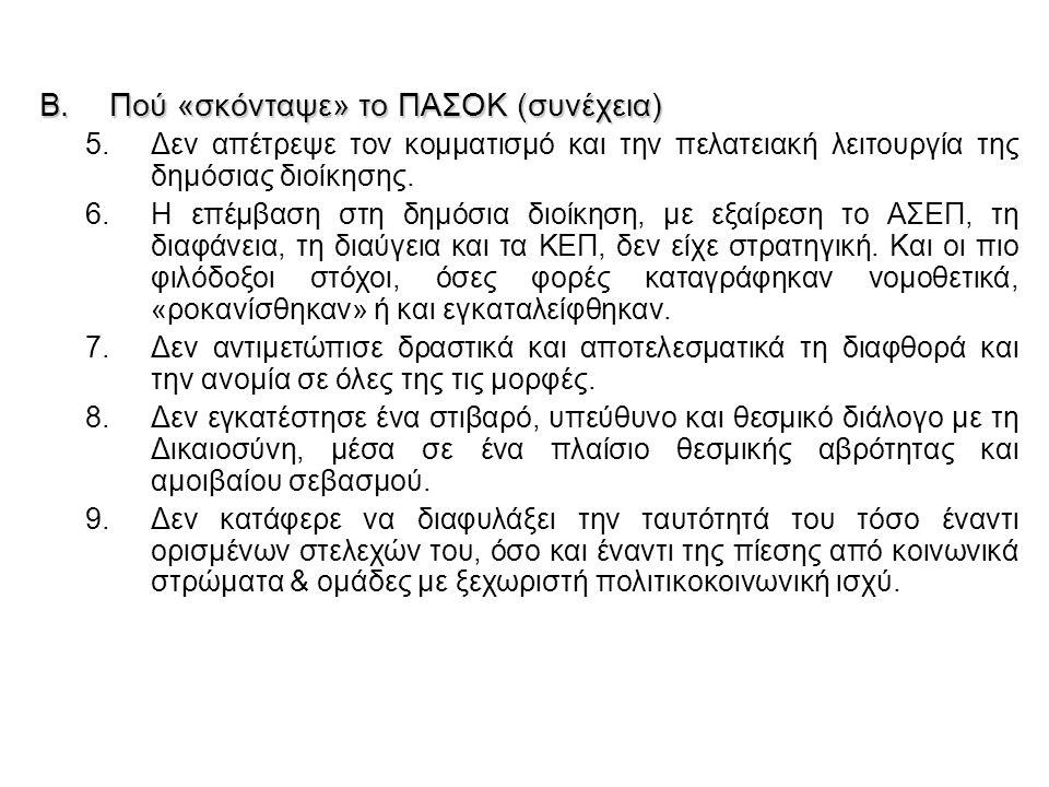 B.Πού «σκόνταψε» το ΠΑΣΟΚ (συνέχεια) 5.Δεν απέτρεψε τον κομματισμό και την πελατειακή λειτουργία της δημόσιας διοίκησης. 6.Η επέμβαση στη δημόσια διοί