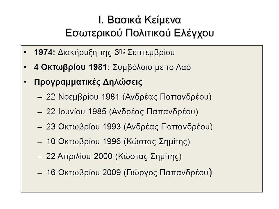 Ι. Βασικά Κείμενα Εσωτερικού Πολιτικού Ελέγχου 1974: Διακήρυξη της 3 ης Σεπτεμβρίου1974: Διακήρυξη της 3 ης Σεπτεμβρίου 4 Οκτωβρίου 1981: Συμβόλαιο με