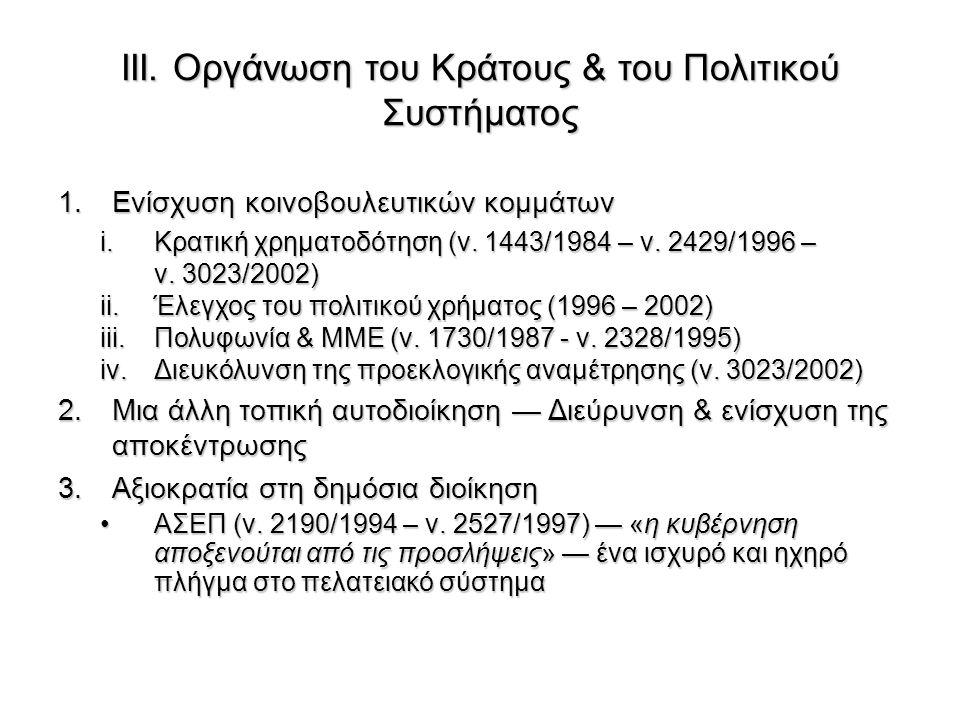 ΙΙΙ. Οργάνωση του Κράτους & του Πολιτικού Συστήματος 1.Ενίσχυση κοινοβουλευτικών κομμάτων i.Κρατική χρηματοδότηση (ν. 1443/1984 – ν. 2429/1996 – ν. 30