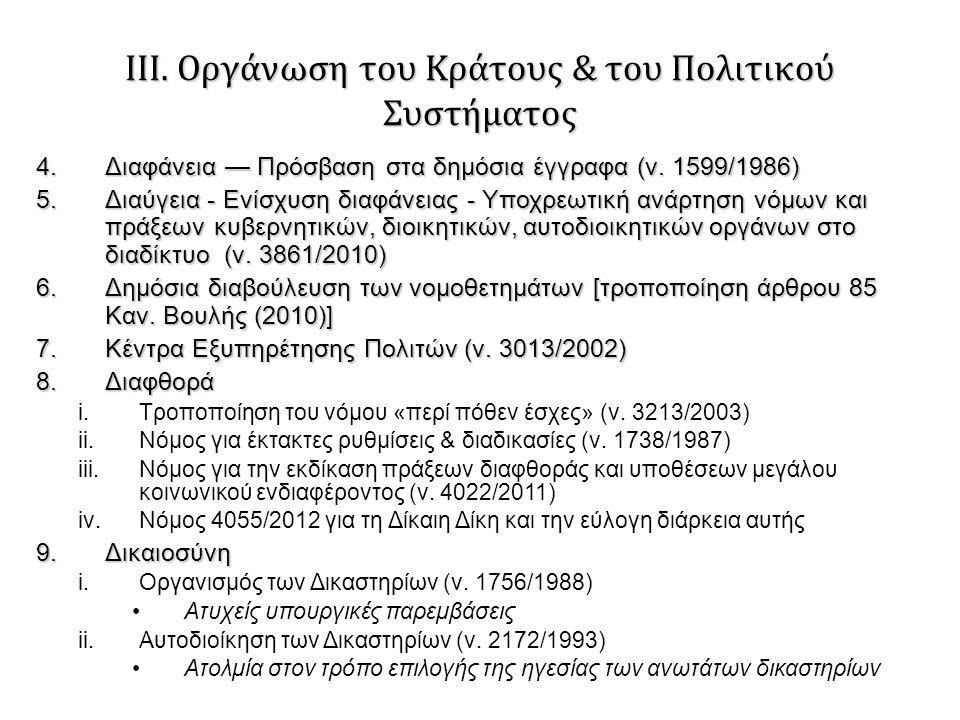 ΙΙΙ. Οργάνωση του Κράτους & του Πολιτικού Συστήματος 4.Διαφάνεια — Πρόσβαση στα δημόσια έγγραφα (ν. 1599/1986) 5.Διαύγεια - Ενίσχυση διαφάνειας - Υποχ