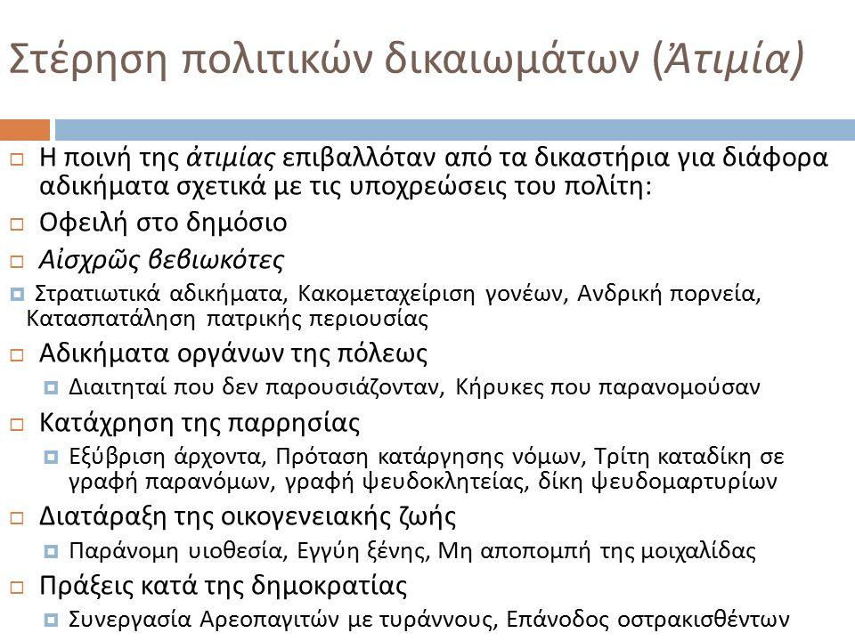 Στέρηση πολιτικών δικαιωμάτων ( Ἀτιμία )  Η ποινή της ἀτιμίας επιβαλλόταν από τα δικαστήρια για διάφορα αδικήματα σχετικά με τις υποχρεώσεις του πολίτη :  Οφειλή στο δημόσιο  Αἰσχρῶς βεβιωκότες  Στρατιωτικά αδικήματα, Κακομεταχείριση γονέων, Ανδρική πορνεία, Κατασπατάληση πατρικής περιουσίας  Αδικήματα οργάνων της πόλεως  Διαιτηταί που δεν παρουσιάζονταν, Κήρυκες που παρανομούσαν  Κατάχρηση της παρρησίας  Εξύβριση άρχοντα, Πρόταση κατάργησης νόμων, Τρίτη καταδίκη σε γραφή παρανόμων, γραφή ψευδοκλητείας, δίκη ψευδομαρτυρίων  Διατάραξη της οικογενειακής ζωής  Παράνομη υιοθεσία, Εγγύη ξένης, Μη αποπομπή της μοιχαλίδας  Πράξεις κατά της δημοκρατίας  Συνεργασία Αρεοπαγιτών με τυράννους, Επάνοδος οστρακισθέντων
