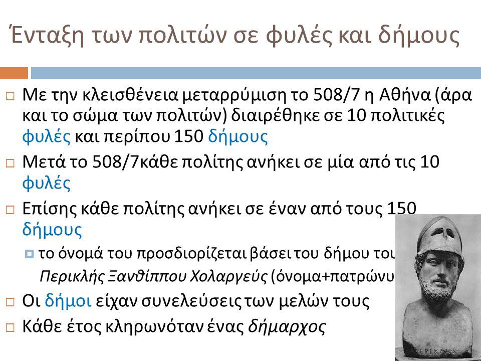 Ένταξη των πολιτών σε φυλές και δήμους  Με την κλεισθένεια μεταρρύμιση το 508/7 η Αθήνα ( άρα και το σώμα των πολιτών ) διαιρέθηκε σε 10 πολιτικές φυλές και περίπου 150 δήμους  Μετά το 508/7 κάθε πολίτης ανήκει σε μία από τις 10 φυλές  Επίσης κάθε πολίτης ανήκει σε έναν από τους 150 δήμους  το όνομά του προσδιορίζεται βάσει του δήμου του : Περικλής Ξανθίππου Χολαργεύς ( όνομα + πατρώνυμο + δήμος )  Οι δήμοι είχαν συνελεύσεις των μελών τους  Κάθε έτος κληρωνόταν ένας δήμαρχος