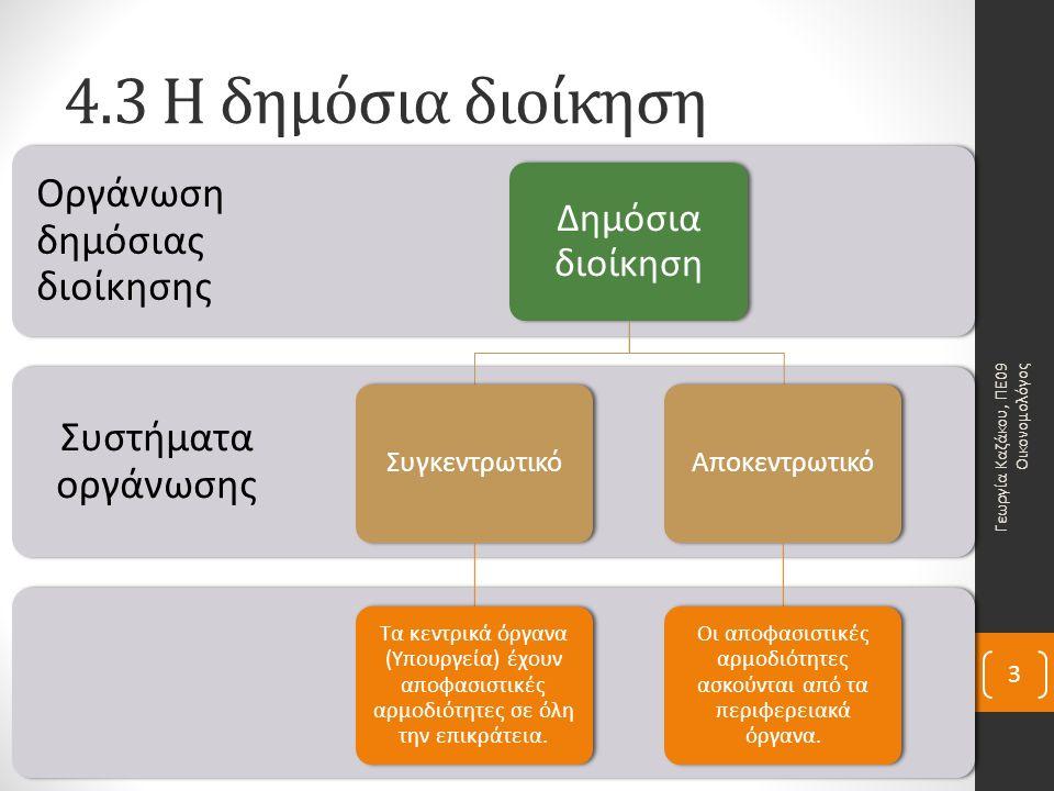 4.3 Η δημόσια διοίκησηΠλεονεκτήματα: α) εξασφάλιση ενιαίας πολιτικής για όλη την επικράτεια β) μικρό κόστος.Μειονεκτήματα: α) ανάπτυξη γραφειοκρατίας β) η κεντρική διοίκηση αγνοεί τις τοπικές ιδιαιτερότητες και τα προβλήματα.
