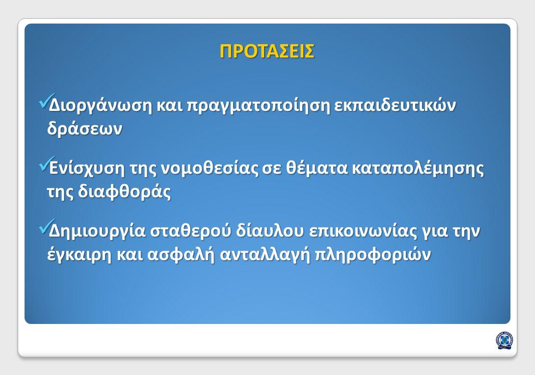 Διοργάνωση και πραγματοποίηση εκπαιδευτικών δράσεων Διοργάνωση και πραγματοποίηση εκπαιδευτικών δράσεων Ενίσχυση της νομοθεσίας σε θέματα καταπολέμησης της διαφθοράς Ενίσχυση της νομοθεσίας σε θέματα καταπολέμησης της διαφθοράς Δημιουργία σταθερού δίαυλου επικοινωνίας για την έγκαιρη και ασφαλή ανταλλαγή πληροφοριών Δημιουργία σταθερού δίαυλου επικοινωνίας για την έγκαιρη και ασφαλή ανταλλαγή πληροφοριών ΠΡΟΤΑΣΕΙΣ