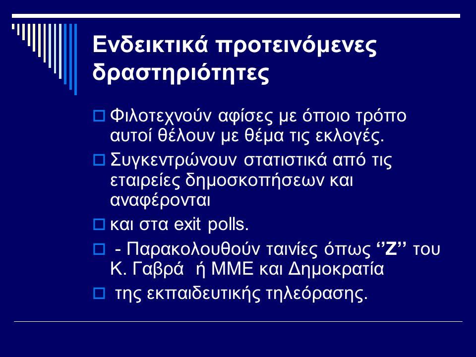 Ενδεικτικά προτεινόμενες δραστηριότητες  Φιλοτεχνούν αφίσες με όποιο τρόπο αυτοί θέλουν με θέμα τις εκλογές.