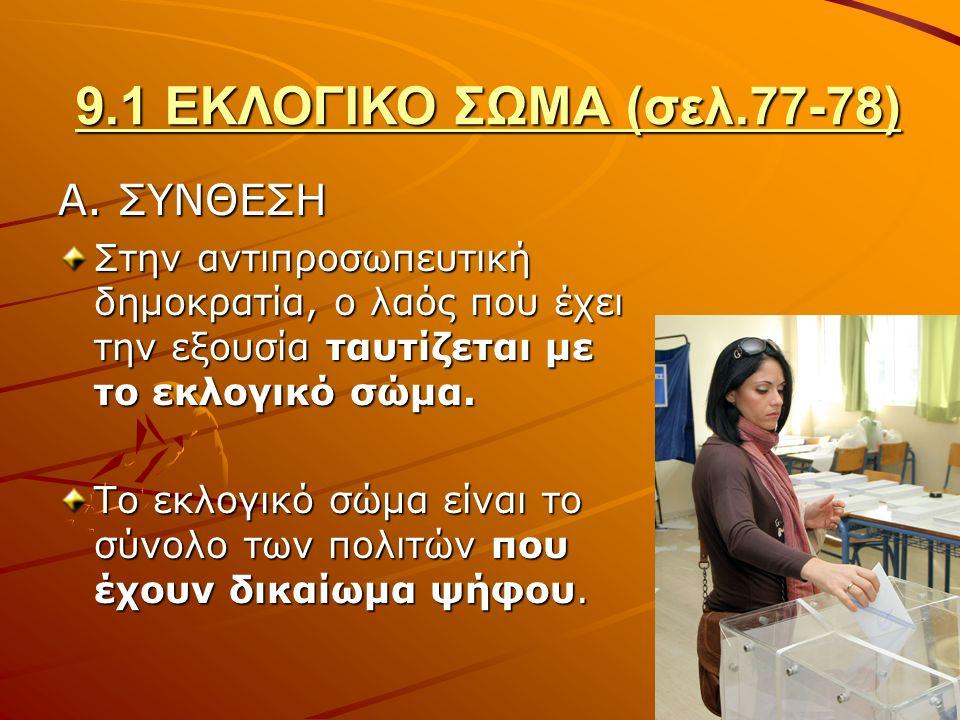 9.1 ΕΚΛΟΓΙΚΟ ΣΩΜΑ (σελ.77-78) Α.
