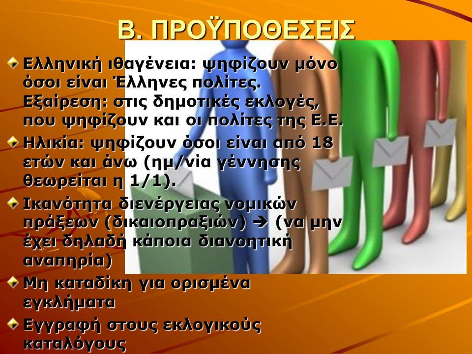 Β. ΠΡΟΫΠΟΘΕΣΕΙΣ Ελληνική ιθαγένεια: ψηφίζουν μόνο όσοι είναι Έλληνες πολίτες.