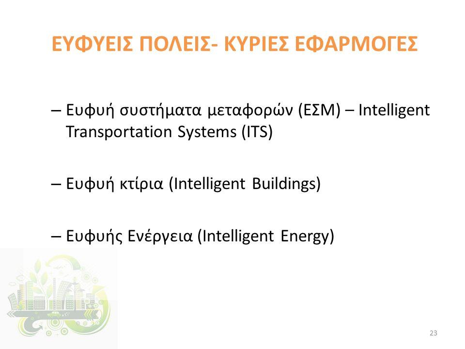 ΕΥΦΥΕΙΣ ΠΟΛΕΙΣ- ΚΥΡΙΕΣ ΕΦΑΡΜΟΓΕΣ – Ευφυή συστήματα μεταφορών (ΕΣΜ) – Ιntelligent Transportation Systems (ITS) – Ευφυή κτίρια (Intelligent Buildings) – Ευφυής Ενέργεια (Intelligent Energy) 23