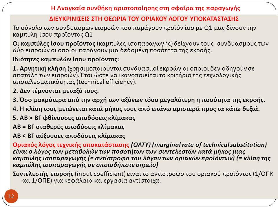 Η Αναγκαία συνθήκη αριστοποίησης στη σφαίρα της παραγωγής ΔΙΕΥΚΡΙΝΙΣΕΙΣ ΣΤΗ ΘΕΩΡΙΑ ΤΟΥ ΟΡΙΑΚΟΥ ΛΟΓΟΥ ΥΠΟΚΑΤΑΣΤΑΣΗΣ Το σύνολο των συνδυασμών εισροών πο