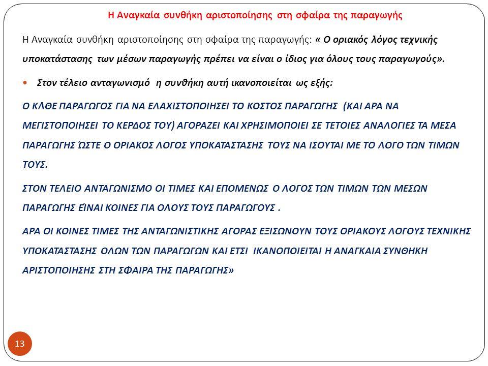 Η Αναγκαία συνθήκη αριστοποίησης στη σφαίρα της παραγωγής Η Αναγκαία συνθήκη αριστοποίησης στη σφαίρα της παραγωγής : « Ο οριακός λόγος τεχνικής υποκατάστασης των μέσων παραγωγής πρέπει να είναι ο ίδιος για όλους τους παραγωγούς ».