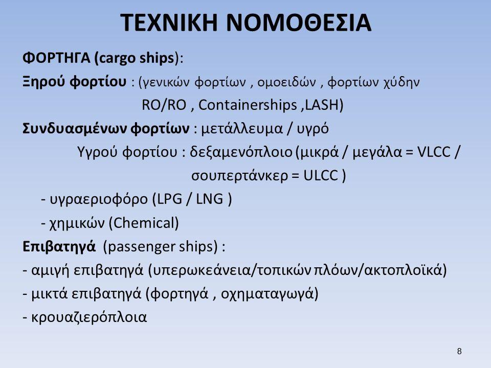 9 ΤΕΧΝΙΚΗ ΝΟΜΟΘΕΣΙΑ ΠΛΟΙΑ ΒΟΗΘΗΤΙΚΗΣ ΝΑΥΤΙΛΙΑΣ -κλειστών υδάτων (ποταμόπλοιο / λιμνόπλοιο) -βοηθητικά (ρυμουλκό / ναυαγοσωστικό/πλοηγίδα/ εφοδιαστικό/παγοθραυστικό) -πλωτά ναυπηγήματα (φορτηγίδα / βυθοκόρος / πλωτός γερανός / πλωτή δεξαμενή) ΠΛΟΙΑ ΕΙΔΙΚΟΥ ΠΡΟΟΡΙΣΜΟΥ Πλοία ψυγεία - Αλιευτικά Επιστημονικών ερευνών - Καλωδιακά Φαρόπλοια – εκπαιδευτικά αναψυχής 9